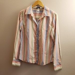J Crew Striped Long Sleeve Button Down Cotton